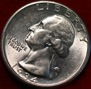 Uncirculated 1934 Philadelphia Mint Silver Washington Quarter
