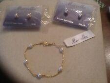 MARVELLA Faux Pearl Petite Bracelet / 2 Pairs Pierced Earrings NOS