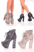 Lot Black Grey Lace Up Tie Platform Booties Faux Leather Women High Heels Wedge