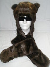 Super Faux Fur Animal Hat & Hand Pockets Warm Cozy