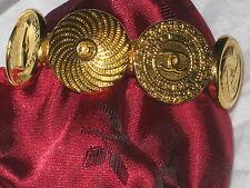CHANEL PARIS BRACELET CUFF GOLD  CC LOGOS  STAMPED