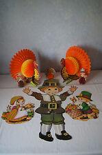 Beistle honeycomb art tissue die cut Indian turkey jointed Pilgrim Thanksgiving