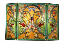 "Fireplace Screen Victorian Design Stained Glass 3 Section 28"" T X 44"" W"