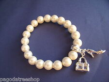 New Stretch Bracelet of Faux Pearl Beads & Silver Bag and Shoe Charms