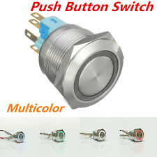 Chrome 6 Pin 22mm Led Light Metal Push Button Momentary Switch Waterproof 12v