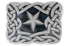 Men Women Belt Buckle Metal Western Texas State Lone Star Silver Filigree Square