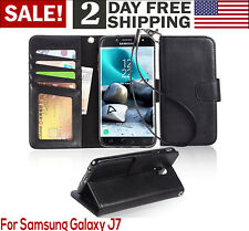 Samsung Galaxy J7 2018 Case PU Leather Wallet Style Card Slots Phone Cover Black