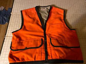 Vintage Blaze Orange Cabela's Hunting Or Fishing Vest Size 2XL