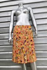 CHANEL Silk Floral Pleated Skirt