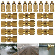 10X Brass Misting Nozzles w Quick Tees For Garden Cooling System 0.3mm 10/24 Unc