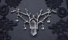 Quartz Raw Crystal and Branch Twig Antler Woodland Ethereal Natural Necklace