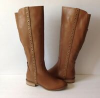 Michael Kors Chestnut  Leather Knee High Riding Boots  W/studded Size 7M/37M