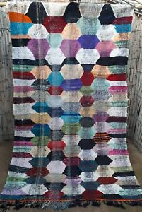 Vintage Moroccan flatweave boucherouite hanbal kilim area rug  245 x 140 cm