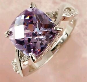 HUGE 925 SILVER OVERLAY FACETED AMETHYST TOURMALINE COLOURED COCKTAIL RING 8