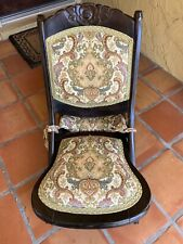 Vintage/Antique Tapestry Wood Folding Rocker Rocking Chair - Victorian Style