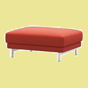 IKEA Nockeby Risane Orange Rust Ottoman COVER ONLY Linen Blend Footstool NEW/NIP