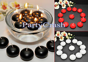 12pcs 1.5 Round Floating Candle Disc Floater Candles Red White Black Wedding