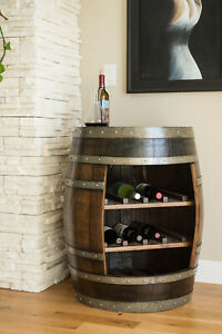 Wine Barrel Cabinet, Dark Walnut Finish with Burgundy Oak, by Alpine Wine Design