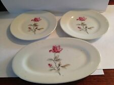 Vintage Miniture Porcelain Platter and 2 Dishes with Rose