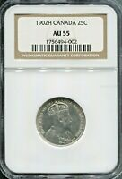 CANADA - BEAUTIFUL EDWARD VII SILVER  25 CENTS, 1902 H, NGC GRADED AU 55, KM# 11