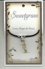 """SWEETGRASS PENDANT ON BLACK CORD """"LOVE, HOPE AND PEACE"""""""