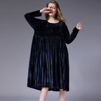 womens Loose plus size velvet dresses high waist crew neck Elegant dress autumn