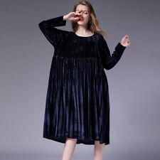 womens Loose plus size velvet dresses high waist crew neck Elegant dress autumn