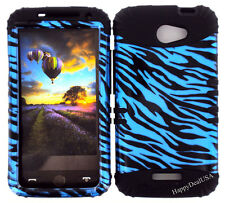 KoolKase Hybrid Silicone Cover Case for HTC One X S720e - Zebra Blue
