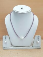 74.00Cts. Faceted Quartz Beads & Peral Gemstone Handmade Necklace Set For Women