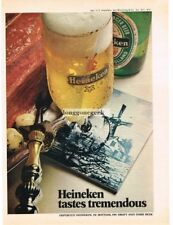 1972 Heineken Beer windmill on delft tile Vtg Print Ad