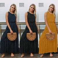 Women Polka Dot Sleeveless Long Maxi Dress Evening Party Casual Holiday Sundress