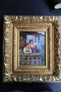 Ölbild 2 junge Mädchen von Ludwig Blume- Siebert (1853-1929)