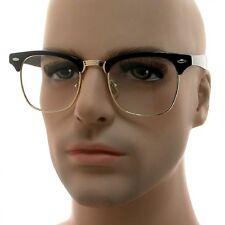 Retro Clubmaster Wayfarer Clear Lens Nerd Frames Glasses Unisex Half Metal Gold
