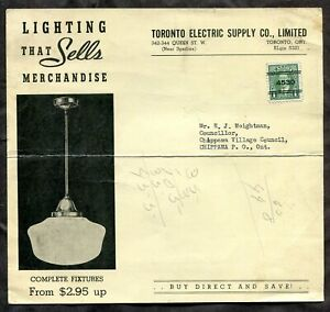 TORONTO c1938 Mufti Precancel on Lights ADVERTISING to Chippawa Art Deco (p1813)