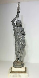 19th c Antique Figural Spelter Newel Post Parlor Gas Lamp Marble Base