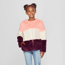 Cat & Jack Girls' Coat Faux Fur Jacket - Pink, White, Purple - Size Small - NEW