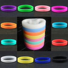 10pcs Silicone Rubber Elasticity Wristband Wrist Band Cuff Bracelet Bangle Sport