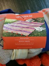 OpalHouse Woven Throw Pom Pom Trim