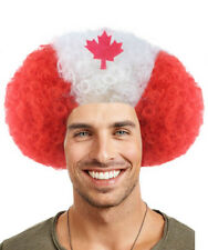 Adult World Cup National Canada Flag Afro Wig Hair Soccer Fans Cheering HM-371A