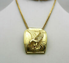 Mens 14k Solid Yellow Gold EAGLE slide Pendant 10k Gold Chain Necklace 21 gr