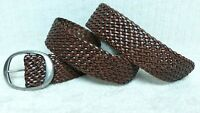 """CHAPS - Women's Belt - 2"""" WIDE BROWN Leather - BRAIDED WOVEN Design - Size L"""