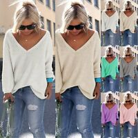 Women Long Sleeve V Neck Casual Pullover Knitted Sweater Jumper Knitwear Outwear