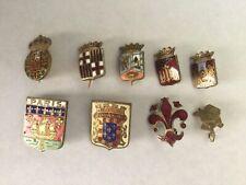 9 French Cloisonne Enamel on Brass Hat Pins Paris Provinces France Vintage