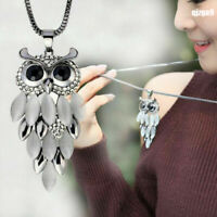 Women Fashion Long Sweater Chain Crystal Rhinestone Owl Pendant Necklace Jewelry