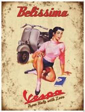 Retro Vintage Placa Señal metálica VESPA BELLISIMA ITALIA Decoración De Pared