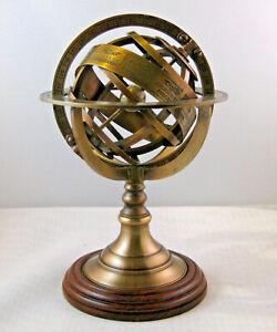 Sphère Armillaire Machine Du Monde Monde Weltmaschine Antique H 21,5cm Ø 14cm