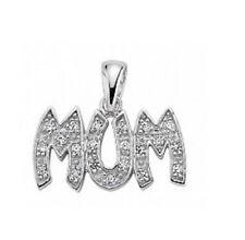 Silver Sparkly Mum Pendant Necklace 925 Hallmark