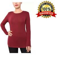 Planet Gold Juniors' Crew-neck Long-Sleeve Women T-Shirt Stretchable Super-slim