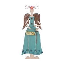 Glitzhome Handcrafted Wood/Iron Blue Fairy Angel Spring Garden Yard Stake Decor