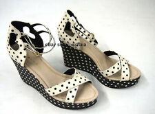 NEW Bass Rachel Antonoff platform wedge sandals Danita cream black polka dots